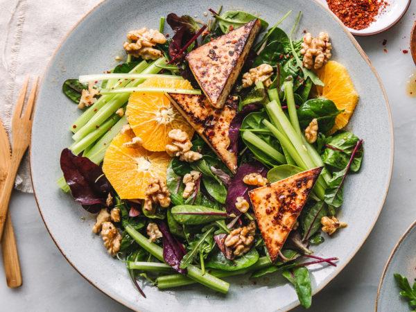 Tofu, Orangen, Sellerie, Ingwer, Walnuss, Ahornsirup