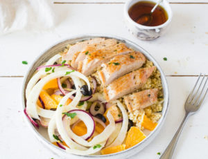 Putenbrust mit Hirse und pikantem Fenchel-Orangen-Salat